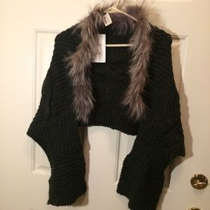 New felicity knitted wrap sweater with fur